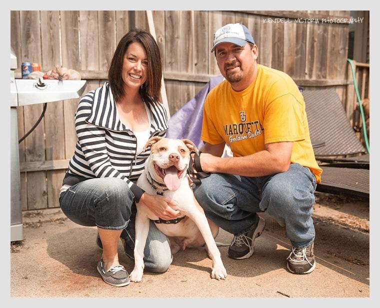 happy pit bull family